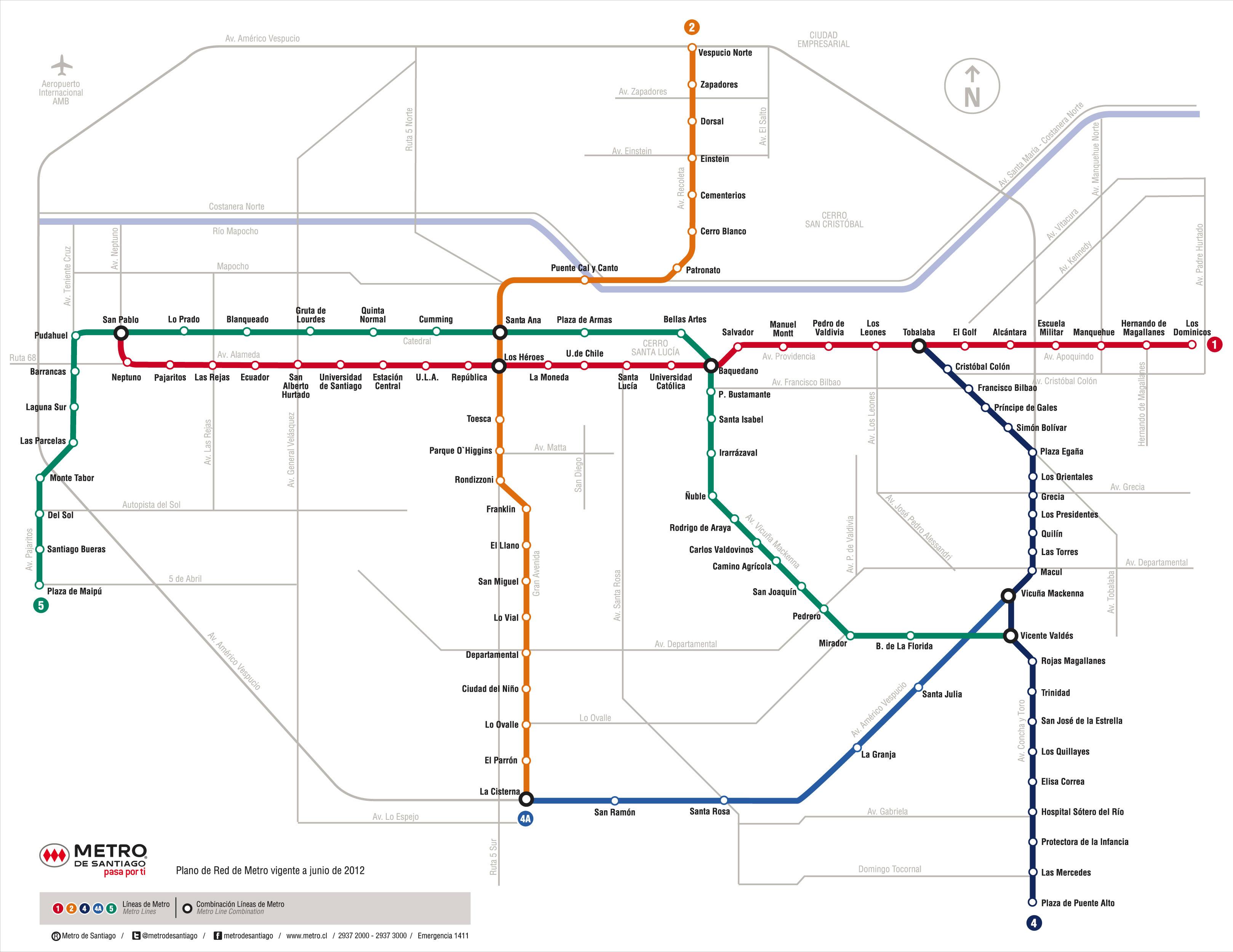 Mapa De Santiago De Chile Con Estaciones De Metro